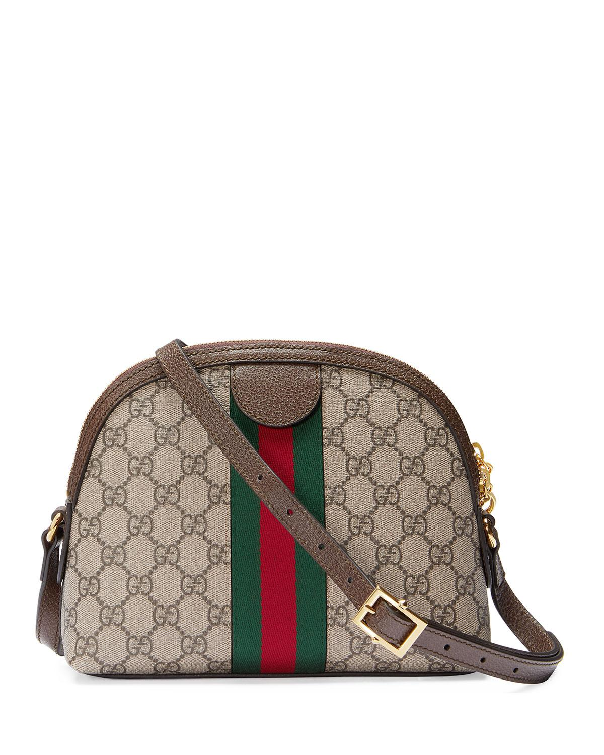 71811f1305c Gucci - Natural Ophidia Textured Leather-trimmed Printed Coated-canvas  Shoulder Bag - Lyst. View fullscreen