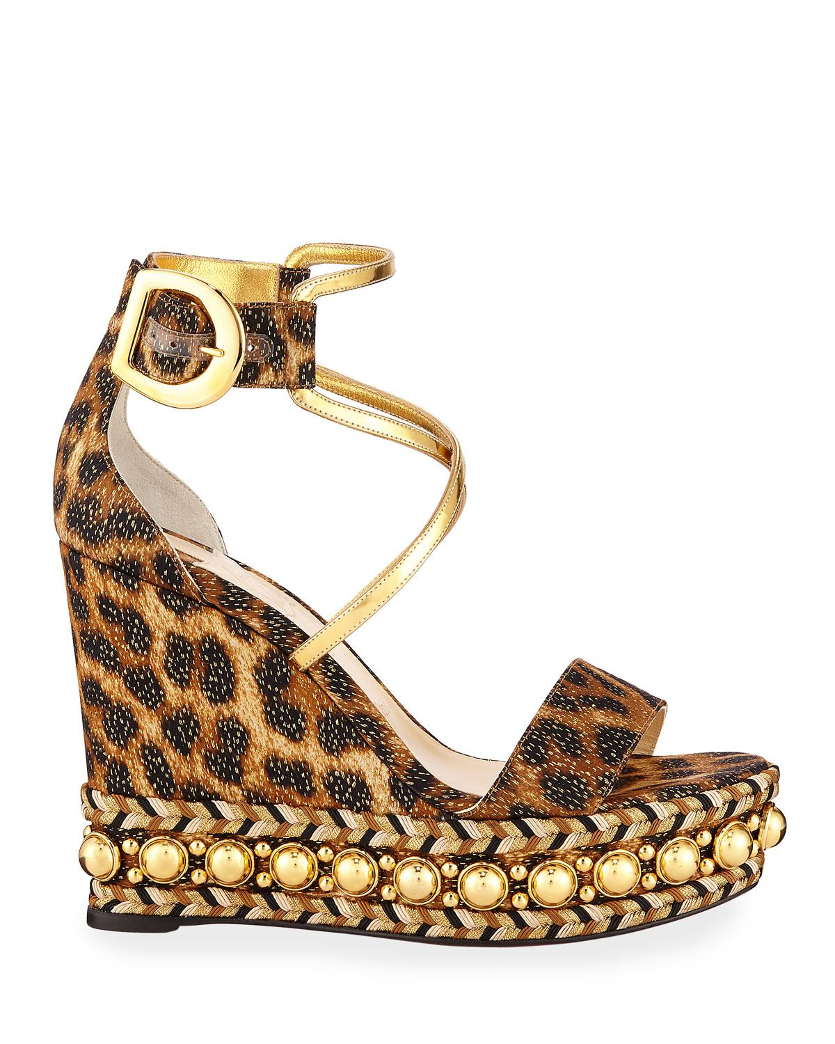 ab4e8216bd06 Lyst - Christian Louboutin Chocazeppa Leopard Wedge Red Sole Espadrille  Sandals in Brown