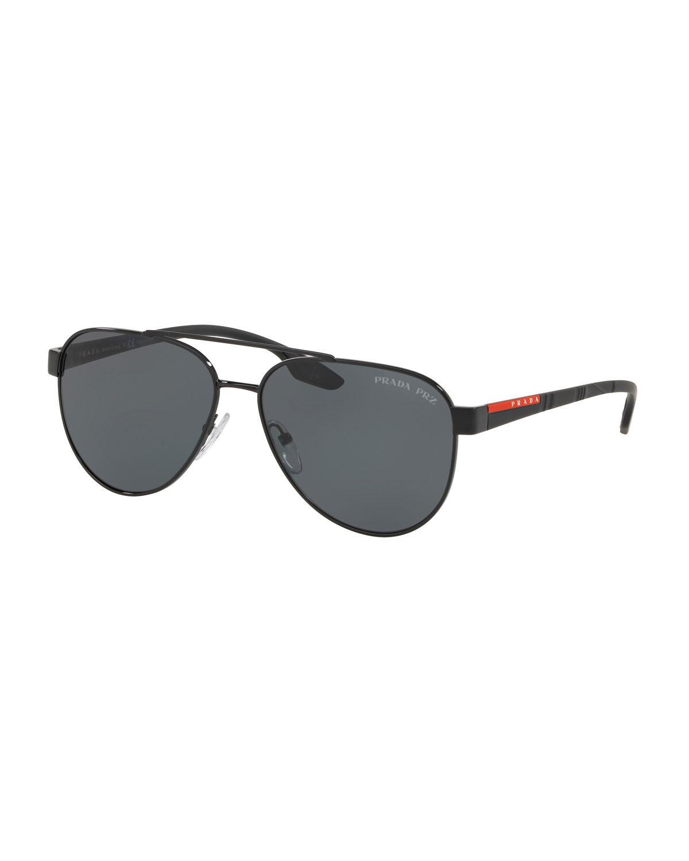 1ac0e46d023 denmark prada sunglasses 76106 b1b1f  closeout prada black mens metal  aviator sunglasses solid lenses for men lyst. view fullscreen ddc0c