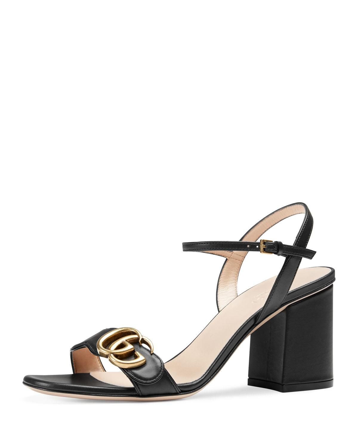 d302b3134b4e Lyst - Gucci Marmont Leather GG Block-heel Sandals in Black