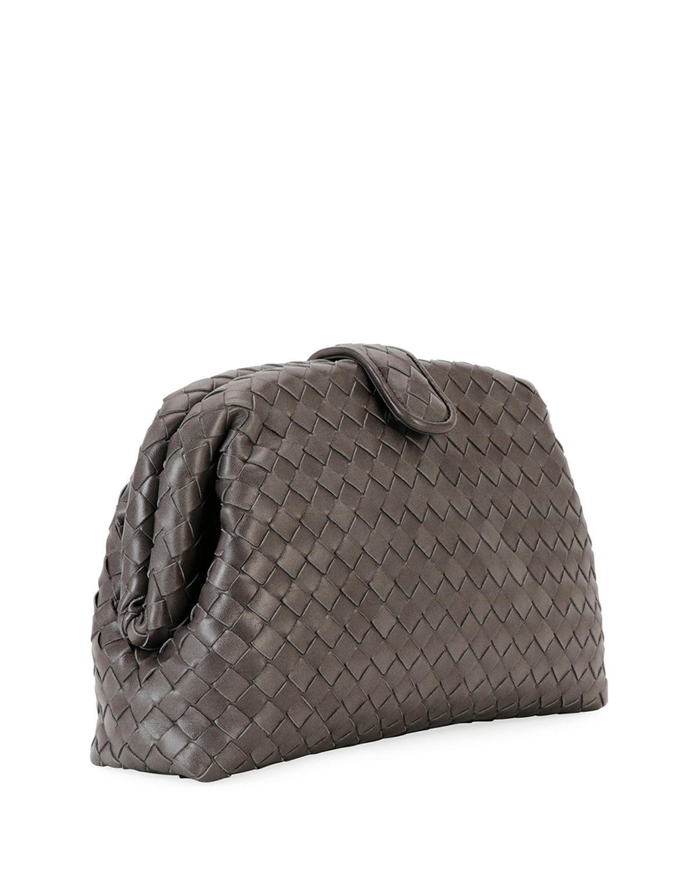 99daa3f97f Bottega Veneta Lauren Napa Intrecciato Clutch Bag in Gray - Lyst