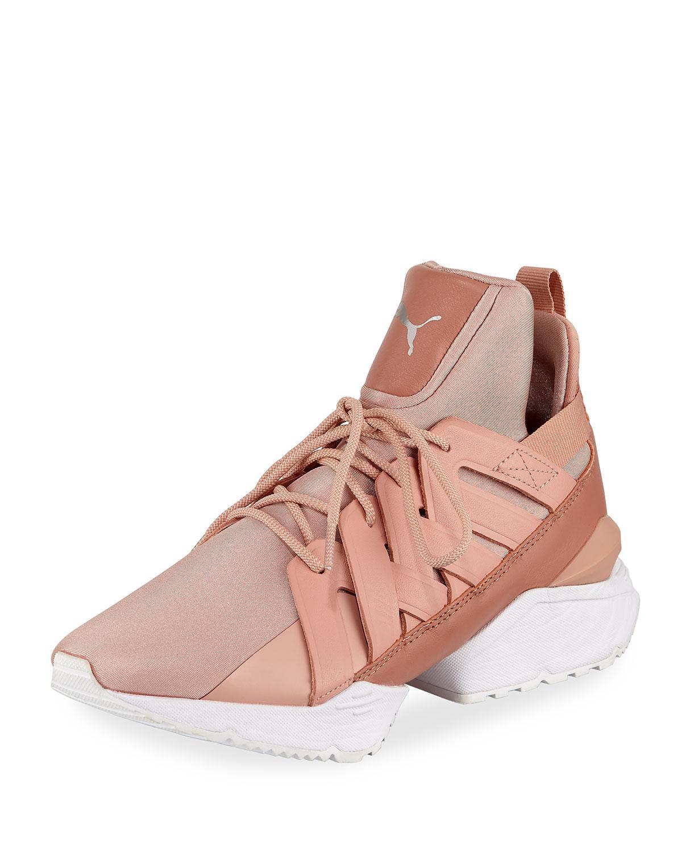 fce090dd9bb4 Lyst - PUMA Muse Echo Satin Sneakers in Pink