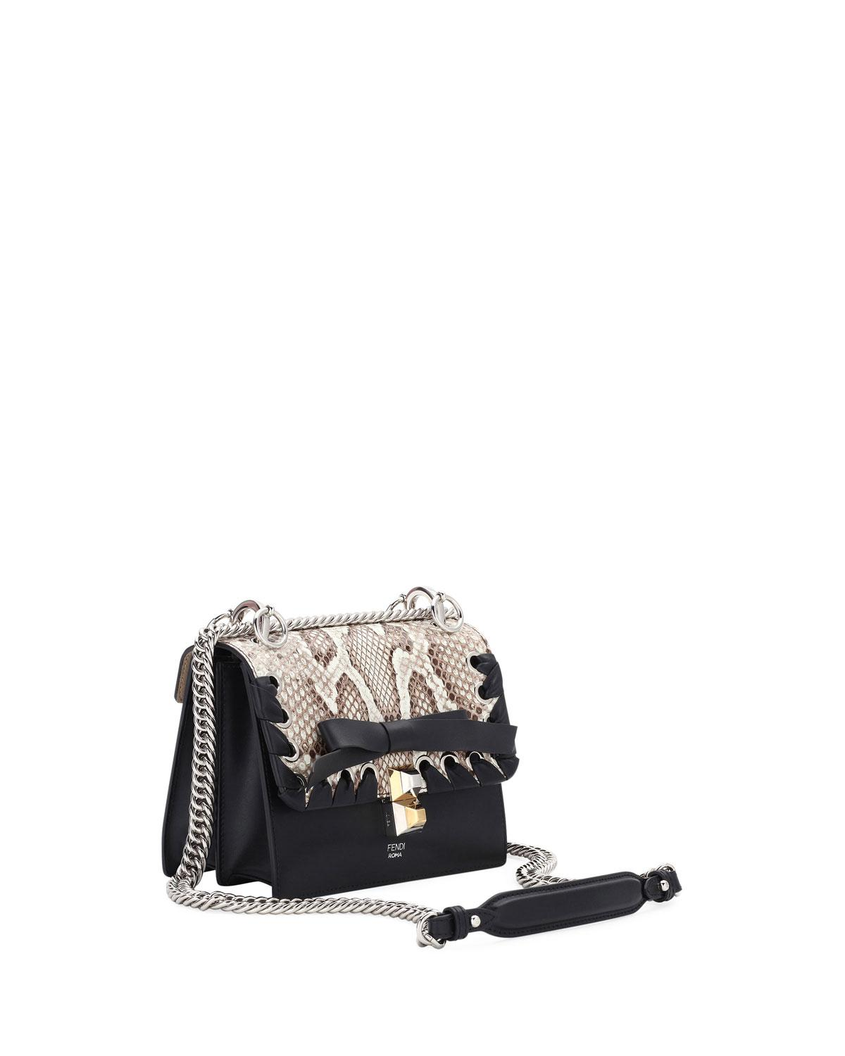 63d1dbb9f5 Fendi Kan I Small Calf Liberty And Python Shoulder Bag in Black - Lyst