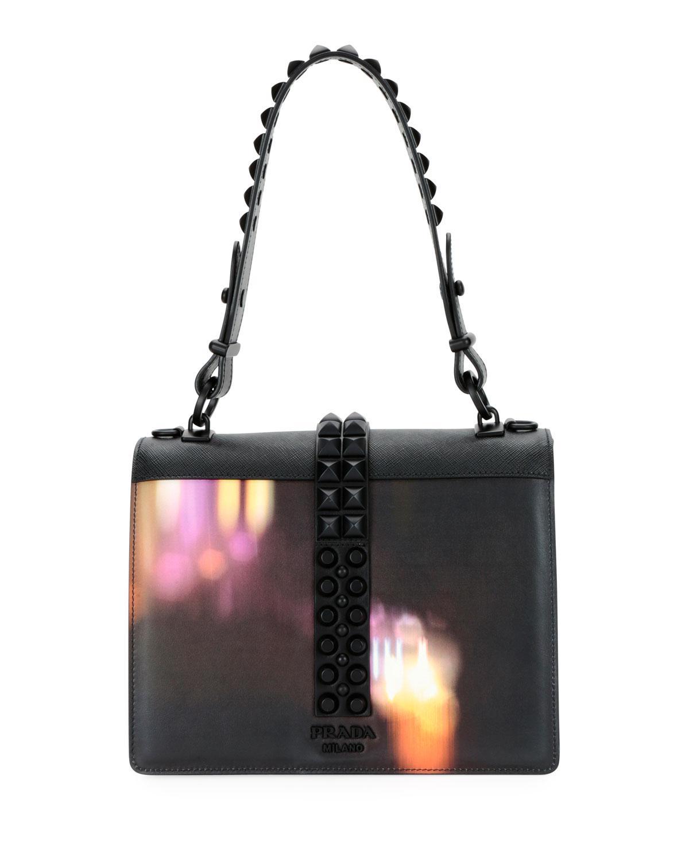Lyst - Prada Elektra City Lights Top Handle Bag in Black 6873cd1128acf