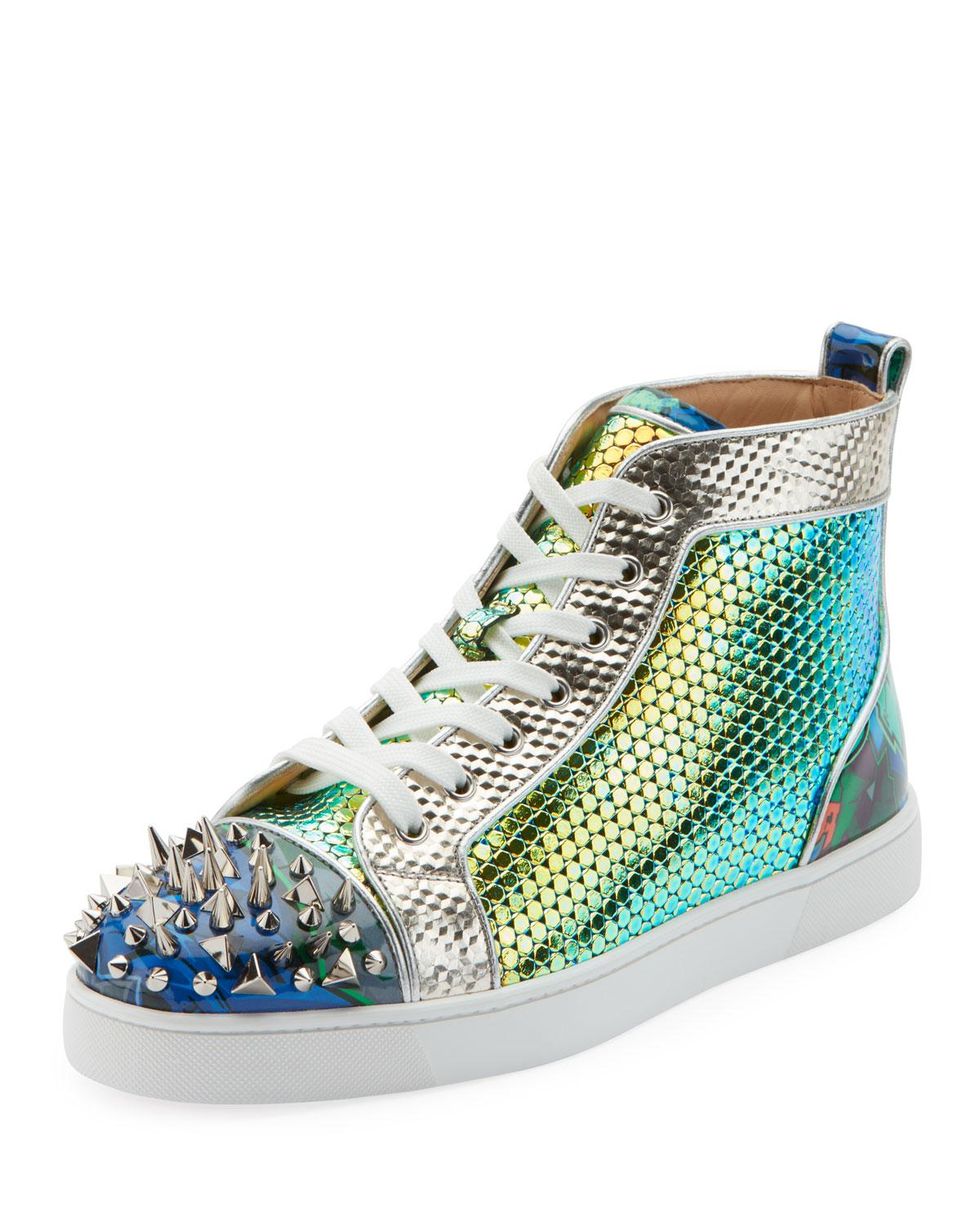 c9cc16dbf2f1 Lyst - Christian Louboutin Men s Spiked Metallic Holographic Mid-top ...