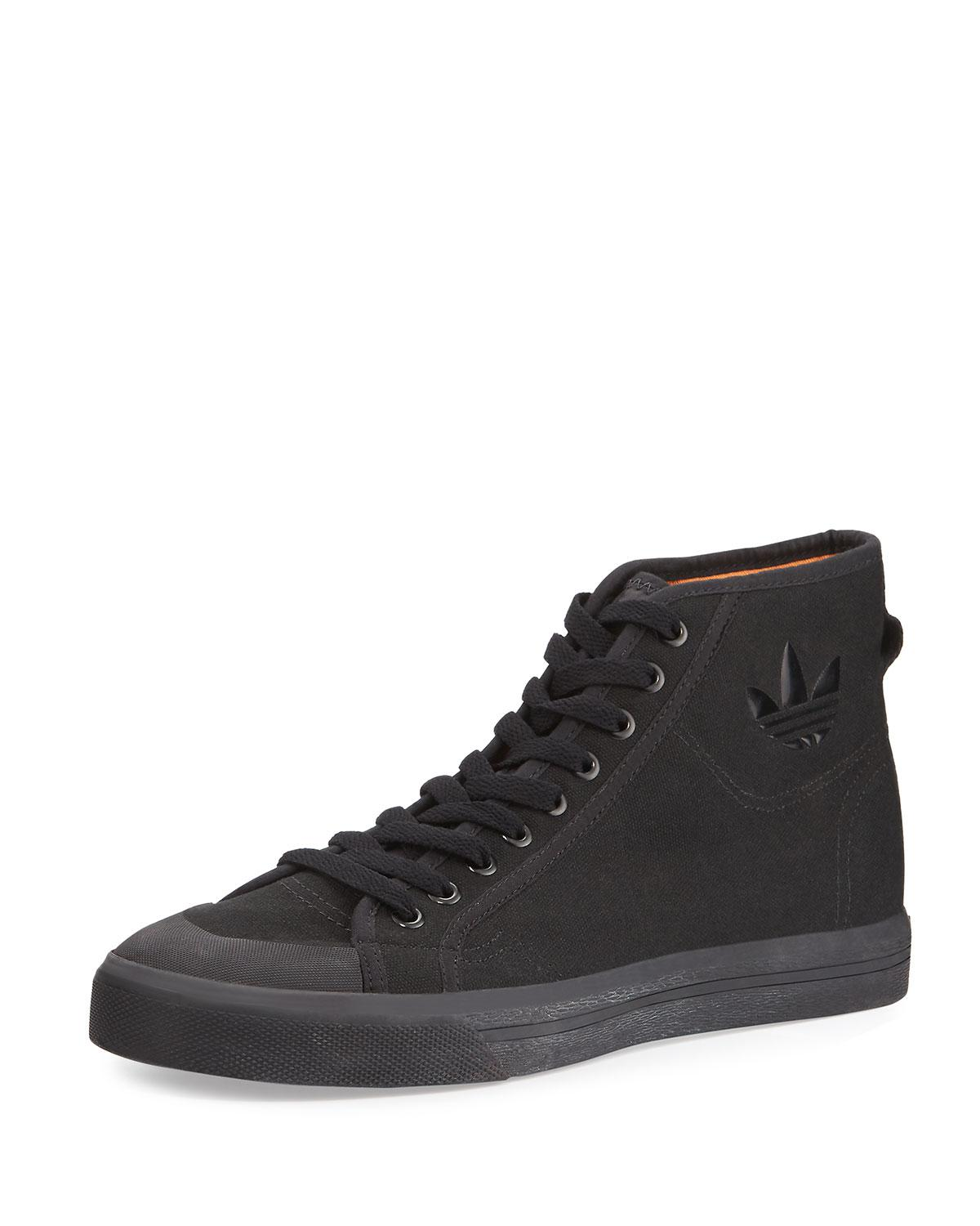 Adidas por Raf Simons espíritu Canvas High Top zapatilla de hombre en color negro