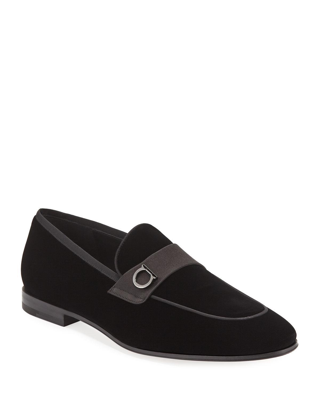 1c4f4f28abf Ferragamo - Black Men s Andrea Velvet Loafers for Men - Lyst. View  fullscreen