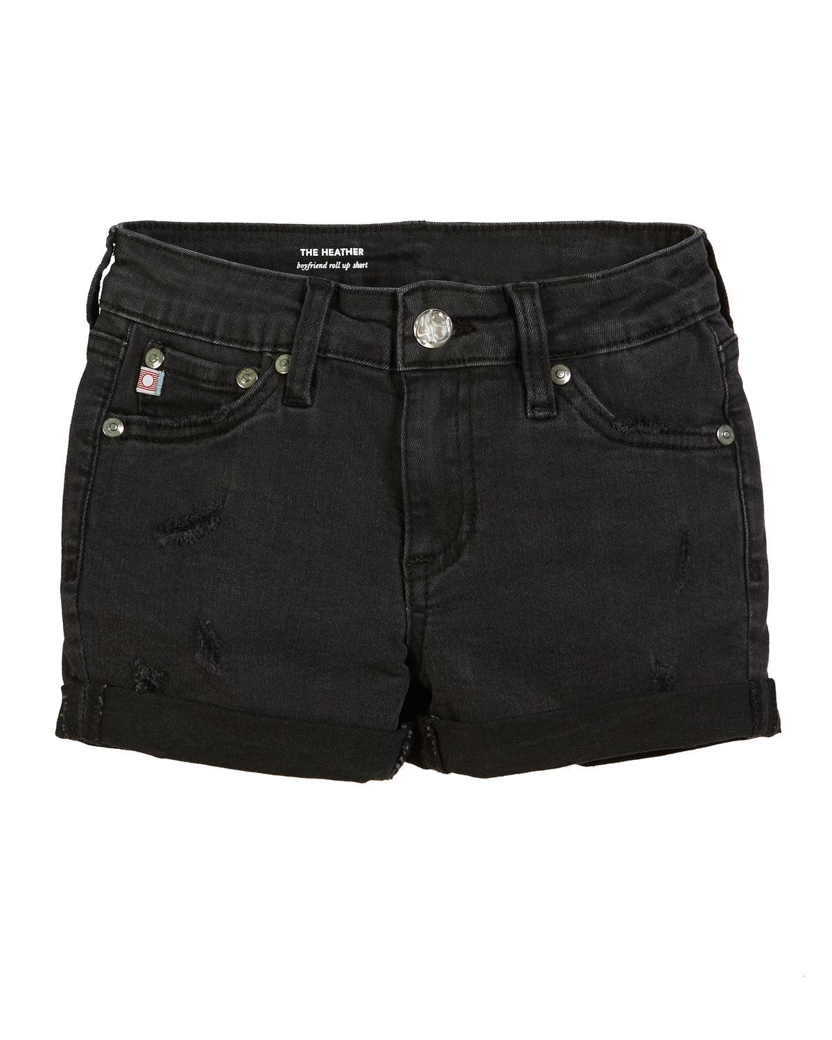 4c45cdc2d0dff Lyst - Ag Jeans Heather Distressed Rolled-cuff Shorts in Black