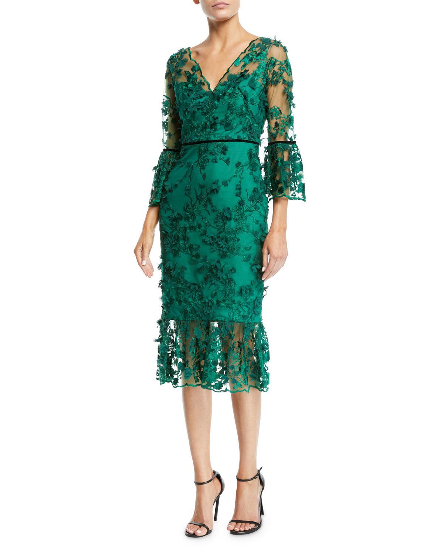 b5ef78d7 Marchesa notte. Women's Green Bell-sleeve Embroidered 3d Flower Dress