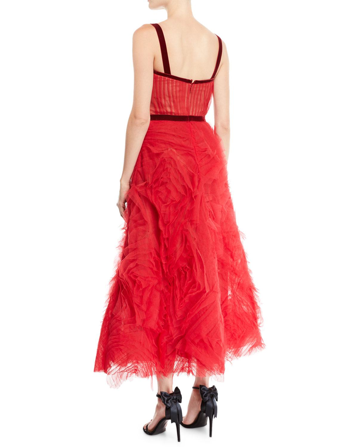 ad6c0e652d6136 Lyst - Marchesa notte Textured Tulle Gown W  Corset Bodice   Velvet Trim in  Red