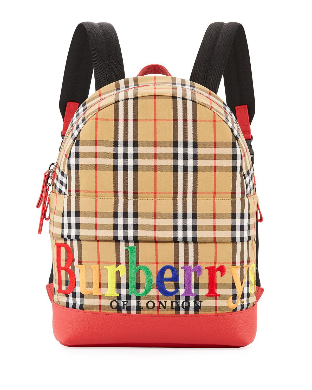 373c2bf4e317 Lyst - Burberry Kids  Nico Check Backpack W  Rainbow Logo Embroidery ...