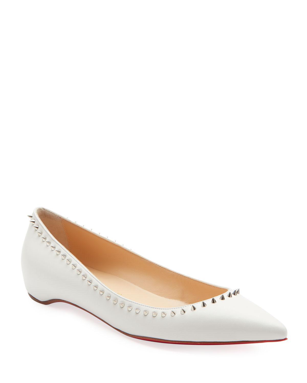 b1c926e86465 Christian Louboutin. Women s White Anjalina Studded Red Sole Ballet Flats