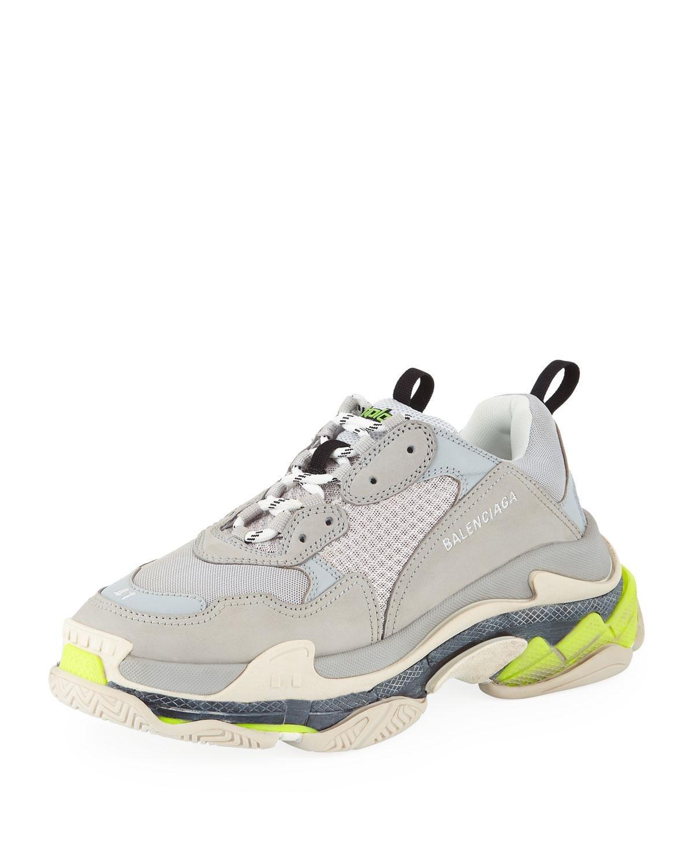 8f698cc97c08 Balenciaga - Men s Triple S Mesh   Leather Sneakers Gray for Men - Lyst.  View fullscreen