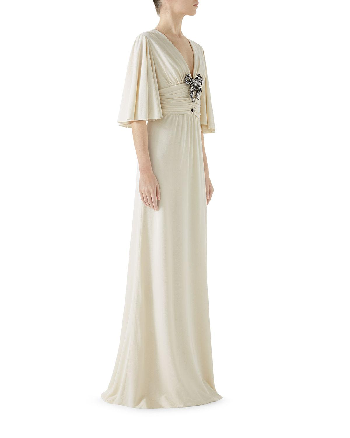 Lyst - Gucci Flutter-sleeve Jeweled-bow A-line Evening Gown in White