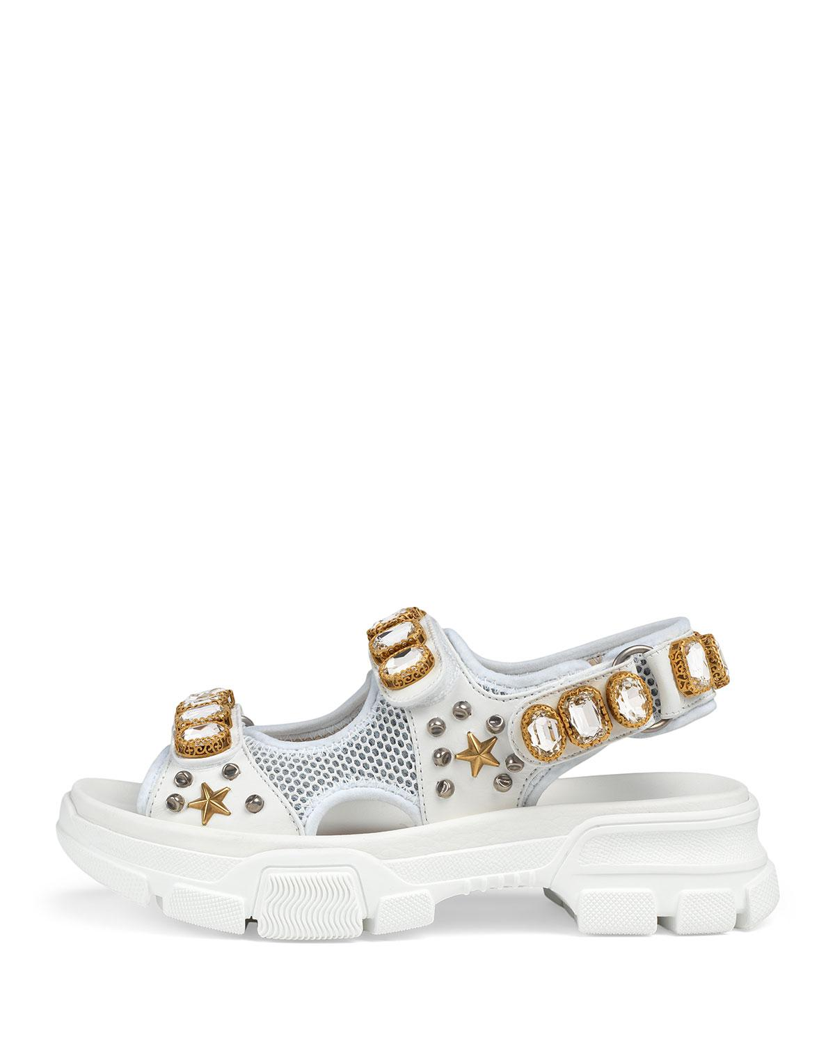 a02da815a32 Lyst - Gucci Metallic And Mesh Embellished Sandals W  Crystals in ...