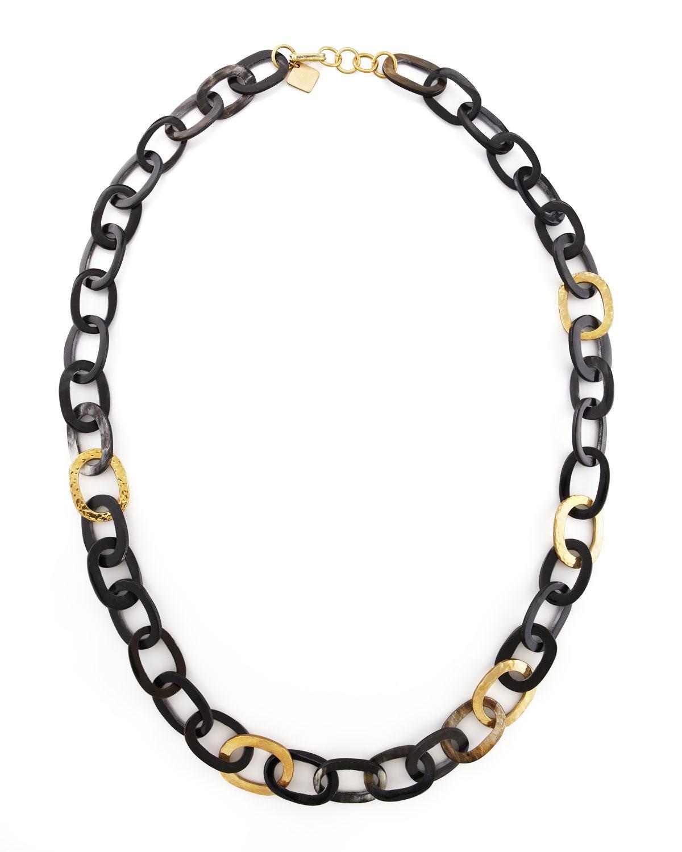 Ashley Pittman Mbele Geometric Dark Horn Link Necklace VGgtlZ