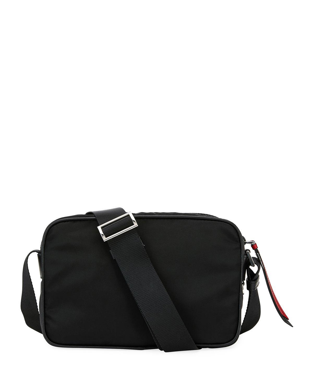 80f288993068 Prada - Black Nylon Shoulder Bag With Graphic Appliqués - Lyst. View  fullscreen