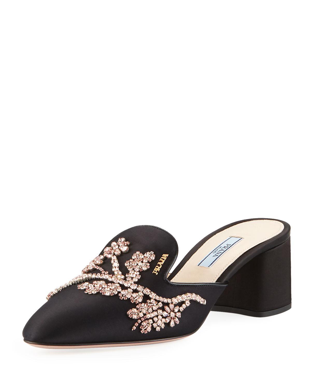 7eea1e4561a Prada - Black Jewel-embroidered Satin Mule - Lyst. View fullscreen