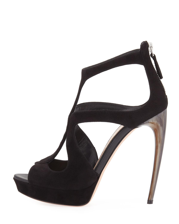 cc7493b07b Lyst - Alexander McQueen Strappy Suede Platform Sandal in Black