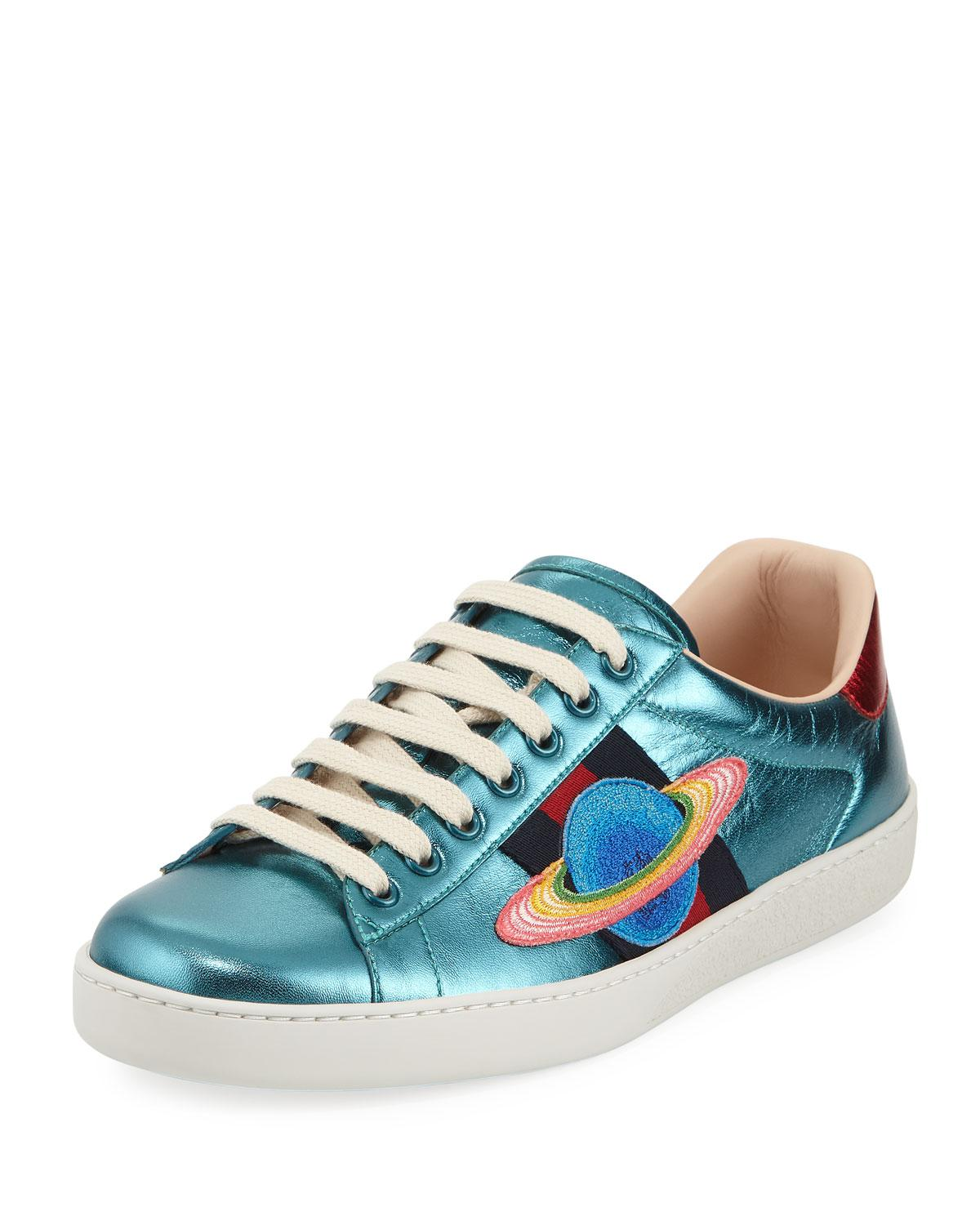 Mens More Metallic Leather Sneakers Gucci