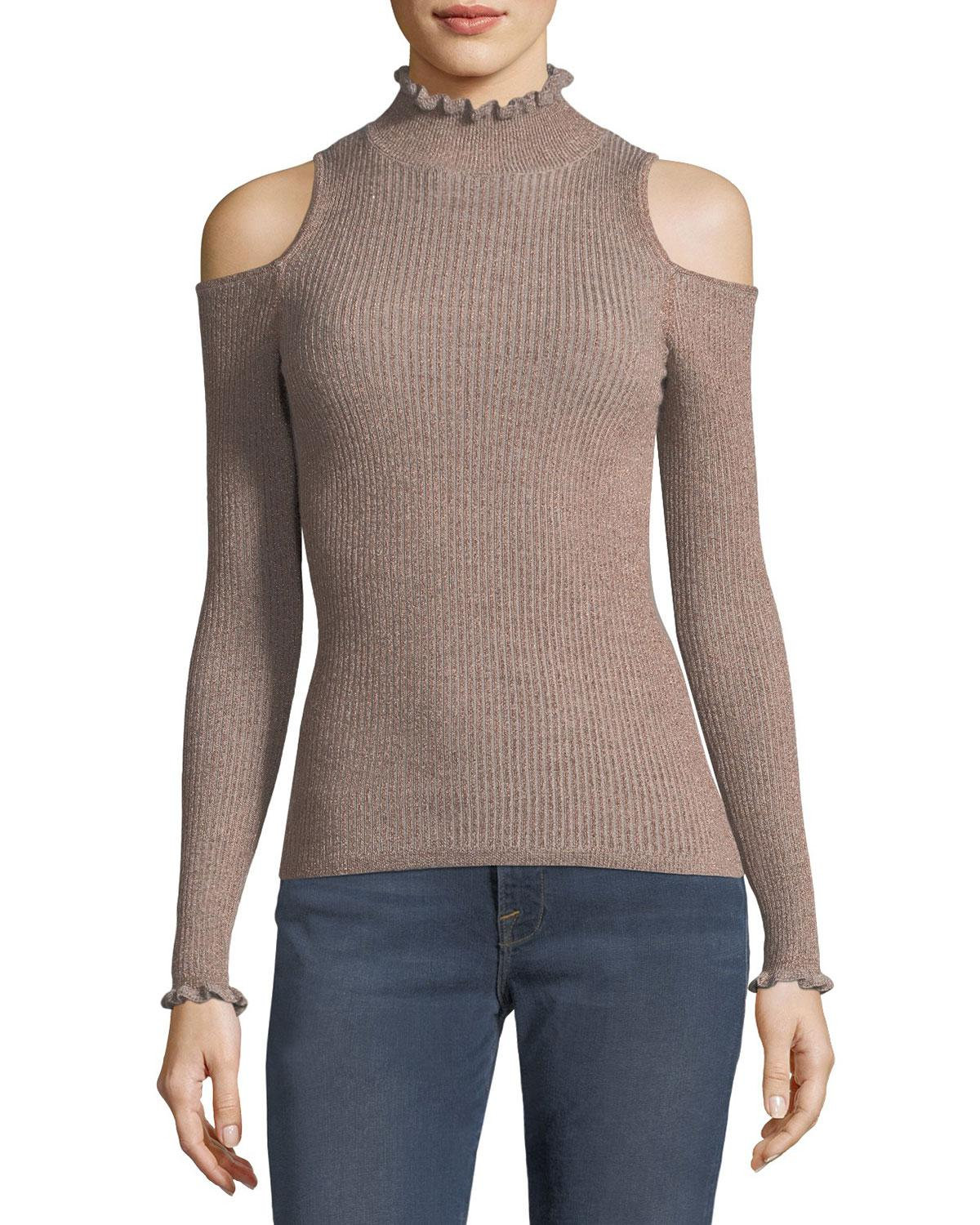 Rebecca taylor Open-shoulder Metallic Ribbed Pullover Sweater | Lyst