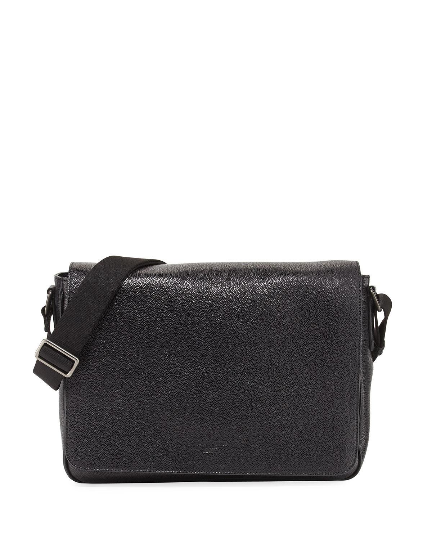 34b74b2f189 Giorgio Armani Caviar Leather Messenger Bag in Black for Men - Lyst