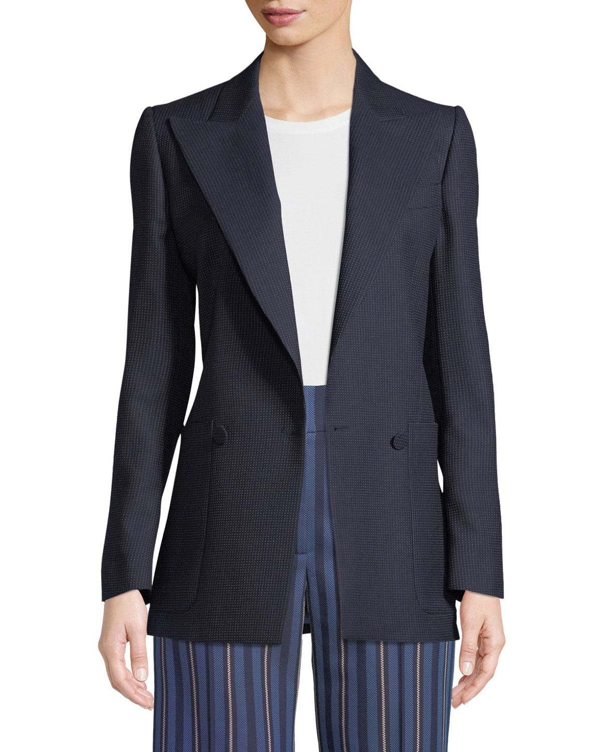 50b94fde0cb0 Lyst - Burberry Leamington Pindot Wool Single-button Jacket in Blue