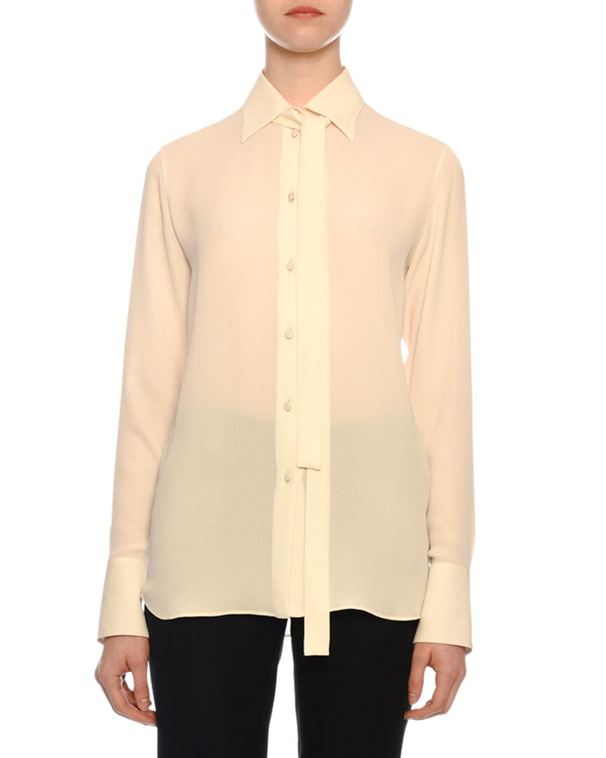 0c46bba2a04adc Valentino. Women s White Tie-neck Long-sleeve Button-front Silk Georgette  Blouse