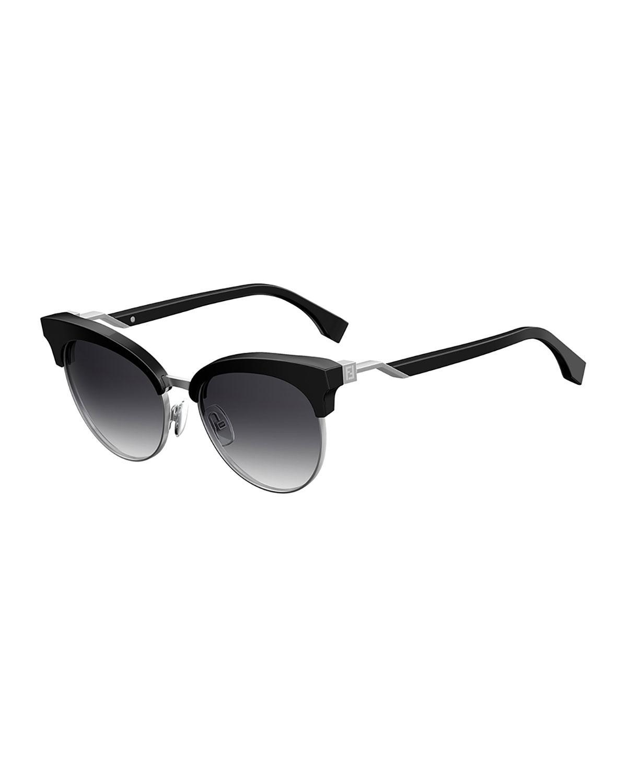 d161cb6a8d42 Lyst - Fendi Square Semi-rimless Sunglasses in Black