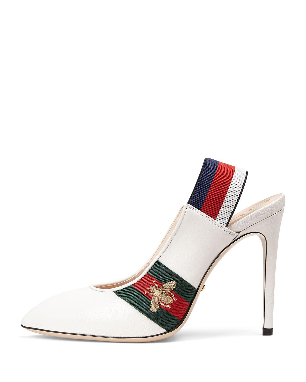 69e1af450b Gucci Leather Web Slingback Pump in White - Save 56% - Lyst