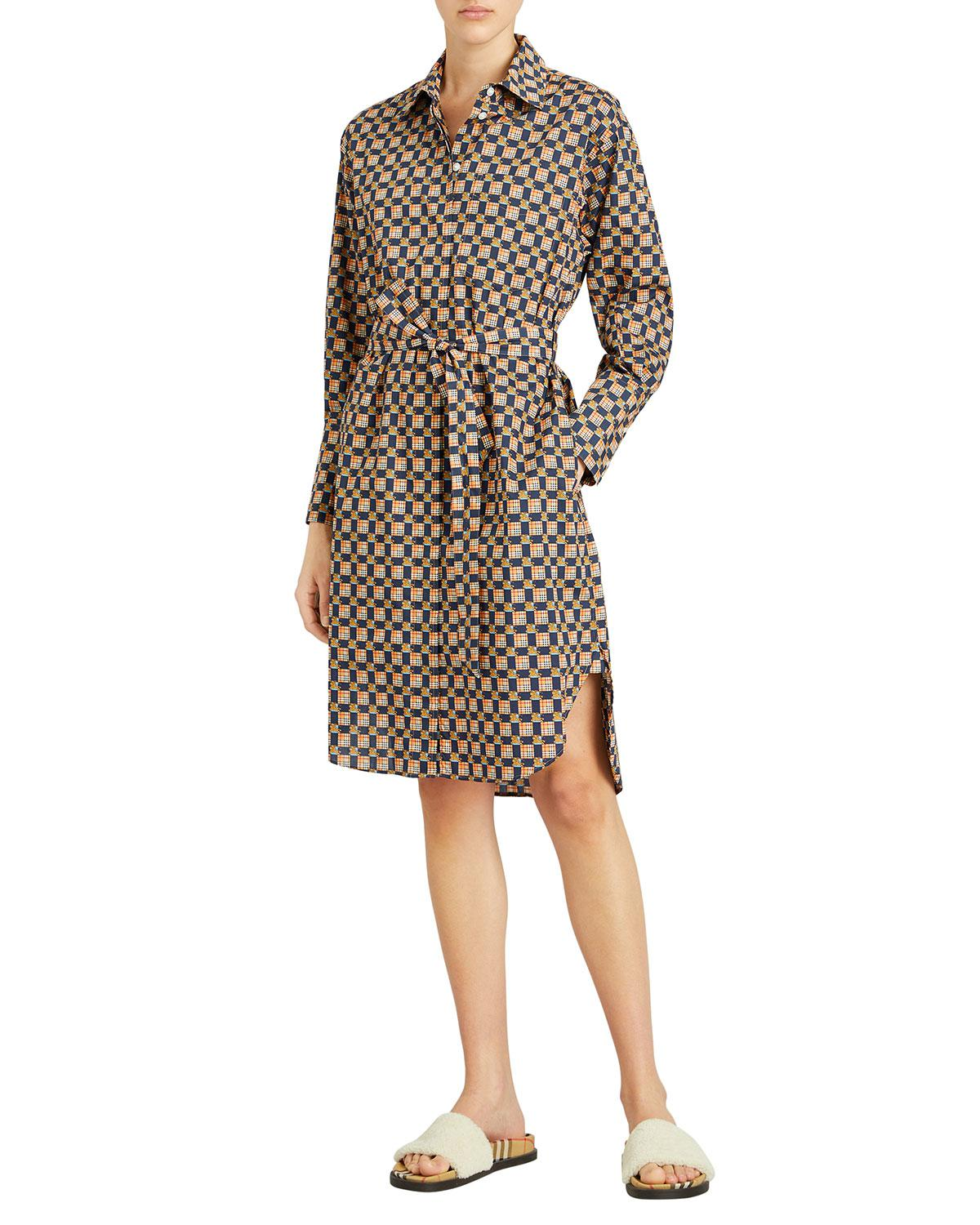 563341d37f7 Burberry Isotto Check Button-front Shirt Dress in Blue - Save 70% - Lyst