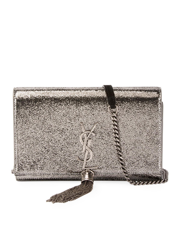 Lyst - Saint Laurent Kate Monogram Ysl Small Crackled Metallic ... b7eedff99d135
