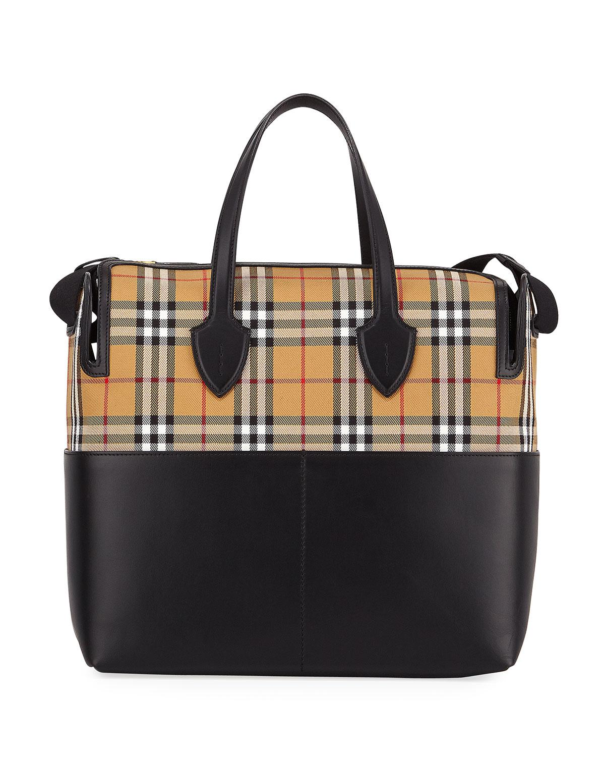 Lyst - Burberry Kingswood Vintage Check   Leather Diaper Bag in Black 186110396f