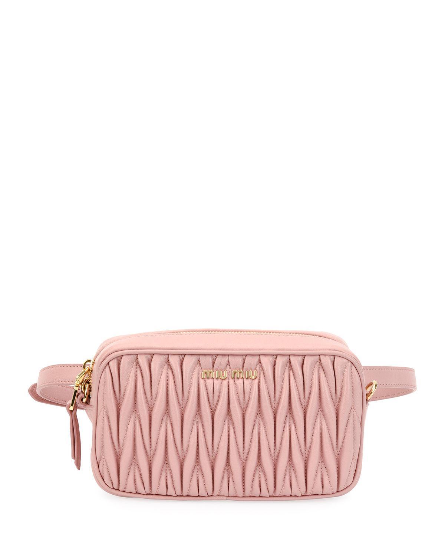 fc7c20f80e38 Lyst - Miu Miu Matelasse Leather Belt Bag in Pink