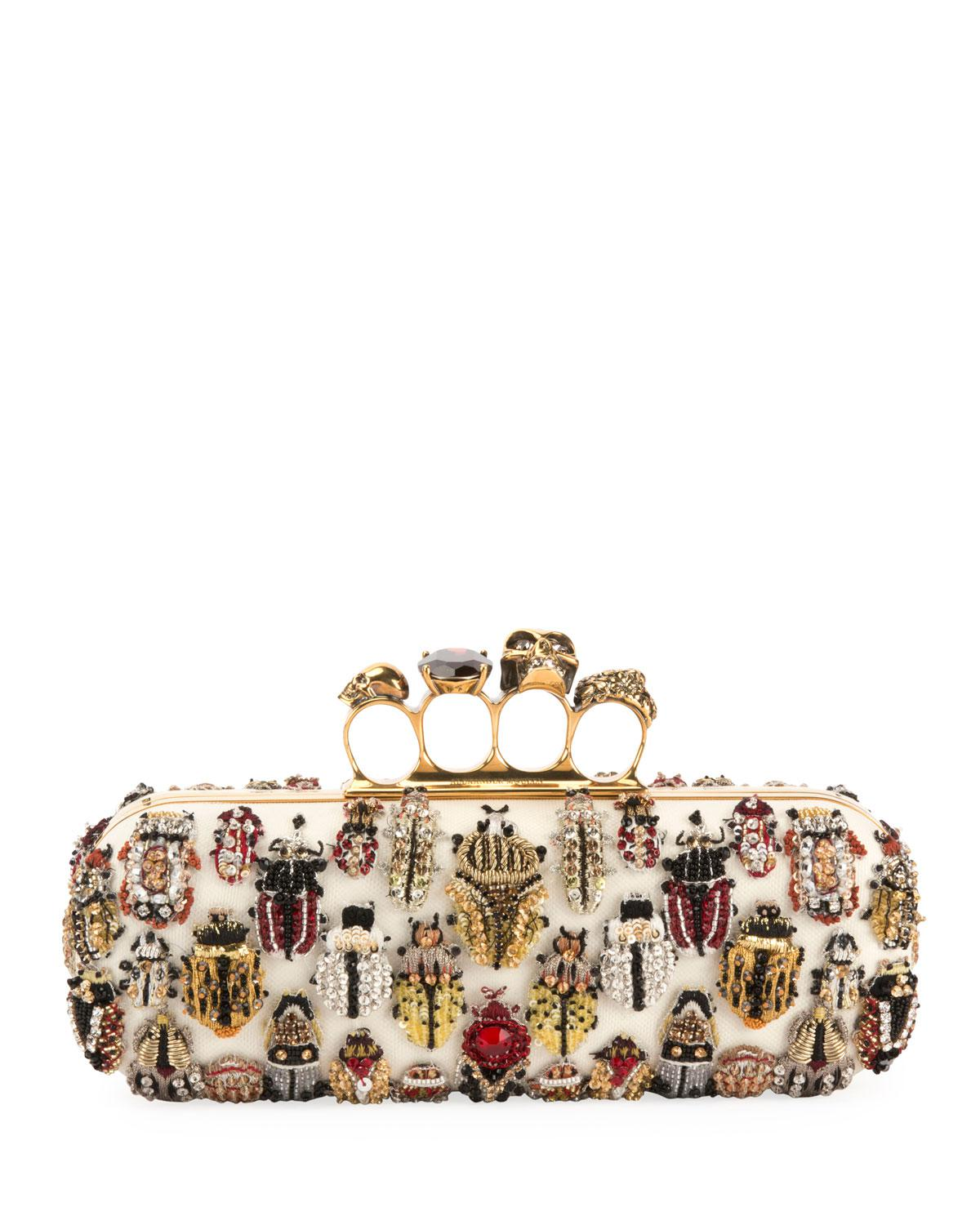 Alexander Mcqueen Long 4 Ring Knuckle Clutch Bag With Bug