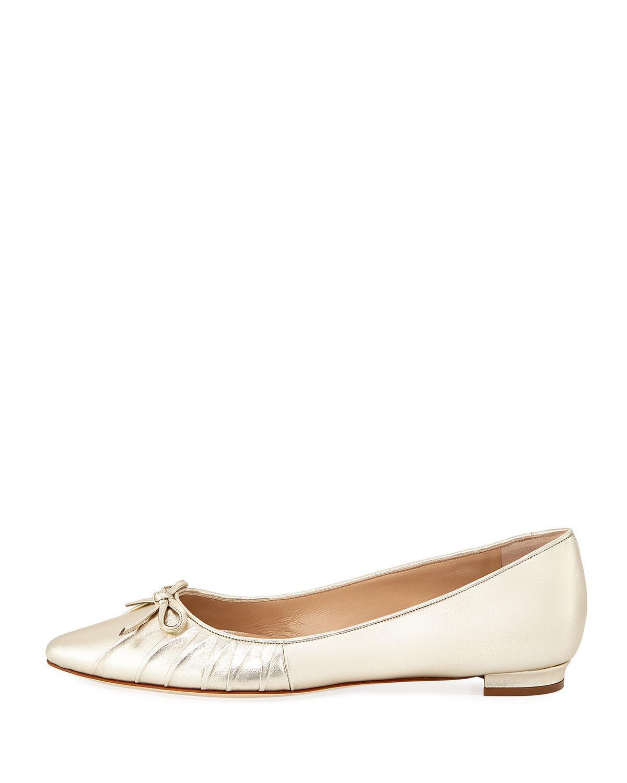 549430c29002 Lyst - Manolo Blahnik Pleata Point-toe Ballerina Flat in Natural