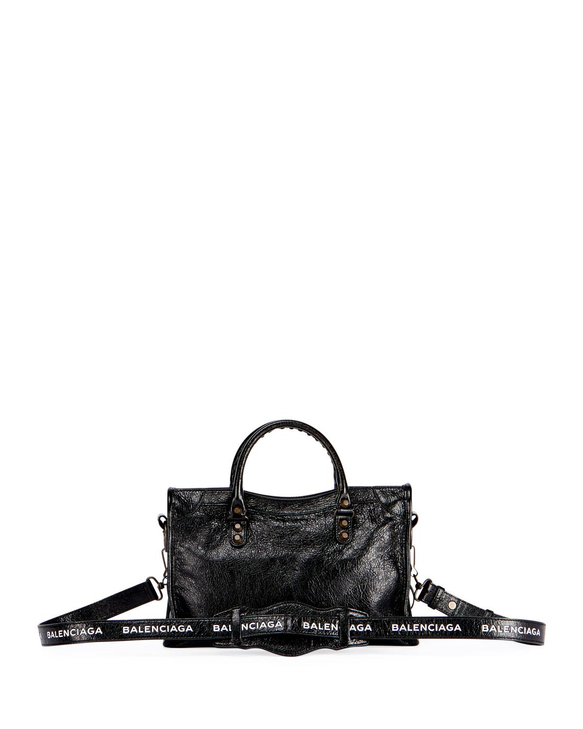 Balenciaga Classic City Leather Tote Bag with Logo Strap hcfYTY