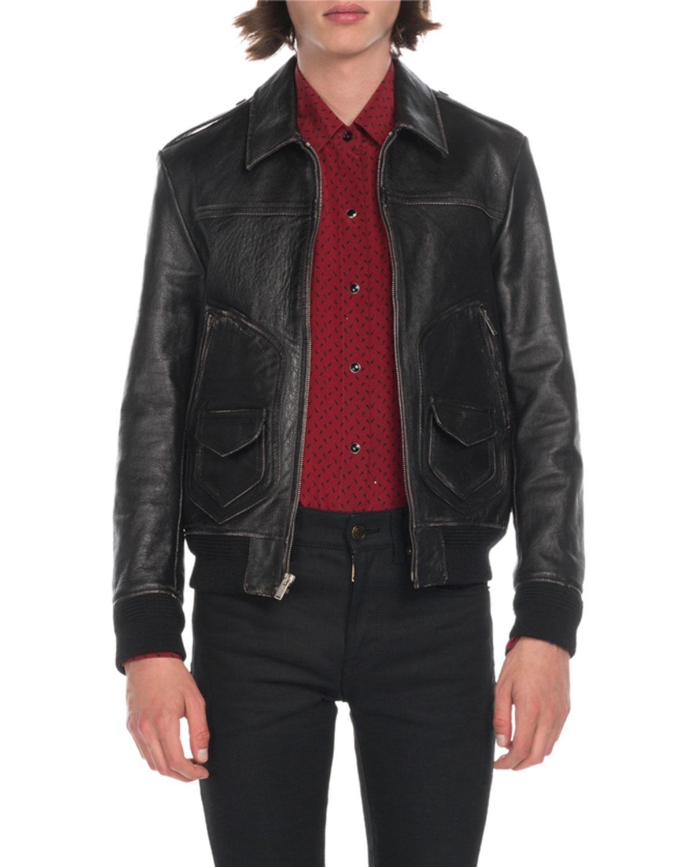 9e869eebfe Lyst - Saint Laurent Men s Distressed Leather Bomber Jacket in Black ...