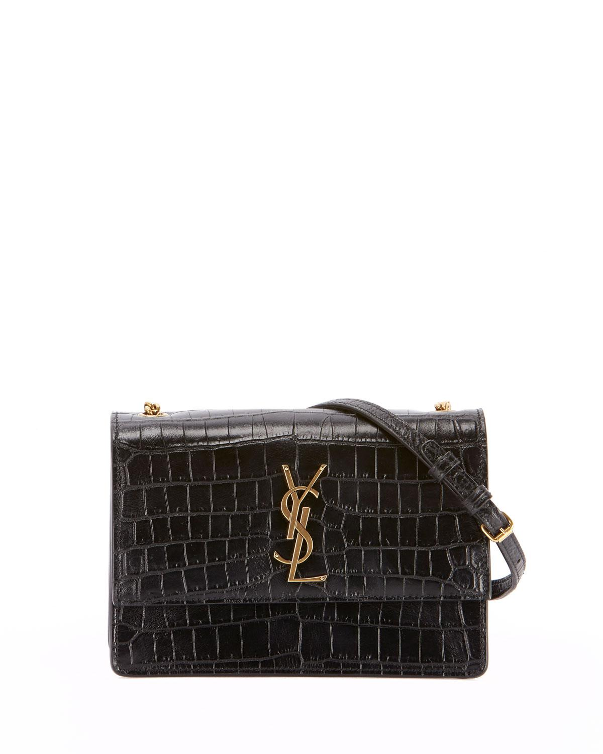 Lyst - Saint Laurent Monogram Ysl Sunset Small Chain Croco Shoulder ... 3c57c1ea7559f