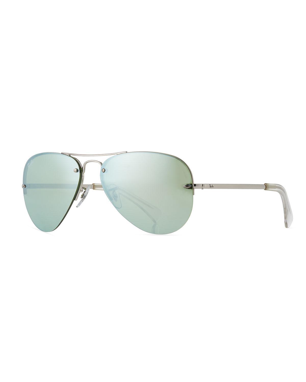 5eb728b8d7c Lyst - Ray-Ban Men s Semi-rimless Aviator Sunglasses in Green for Men