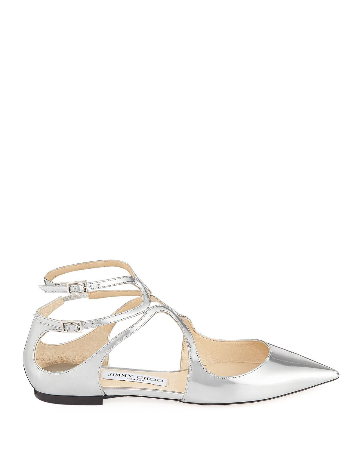 31fe9da0b93e Lyst - Jimmy Choo Lancer Metallic Leather Flat in Metallic