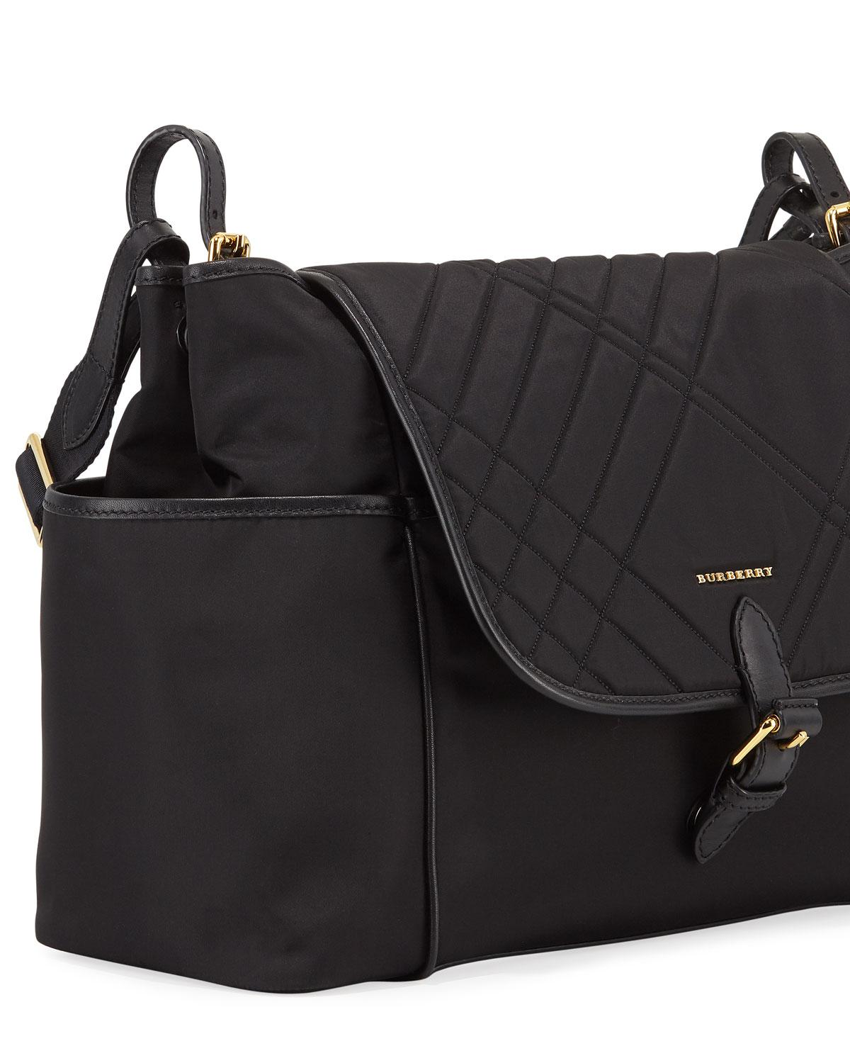 7aa383bfecea Lyst - Burberry Flap-top Quilted Diaper Bag in Black