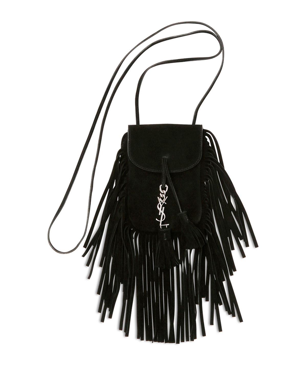 b9aefa6a428d Lyst - Saint Laurent Anita Fringed Shoulder Bag in Black