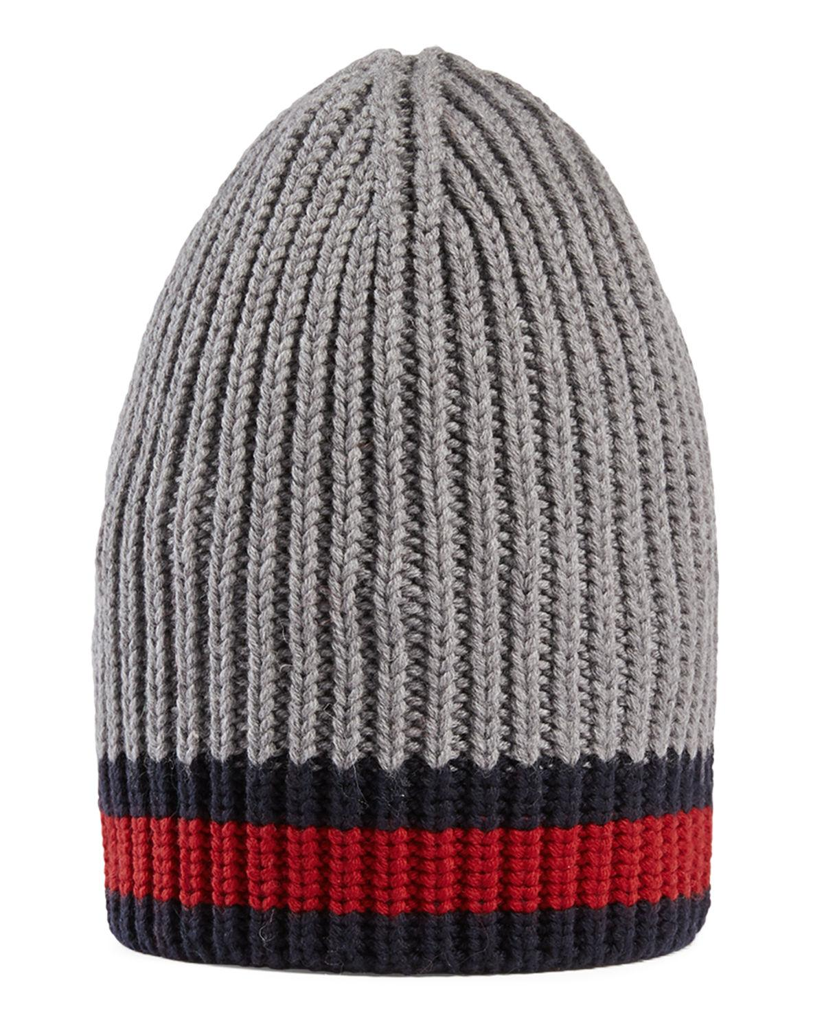 Gucci Hats For Men: Gucci Wool Beanie Hat W/web For Men