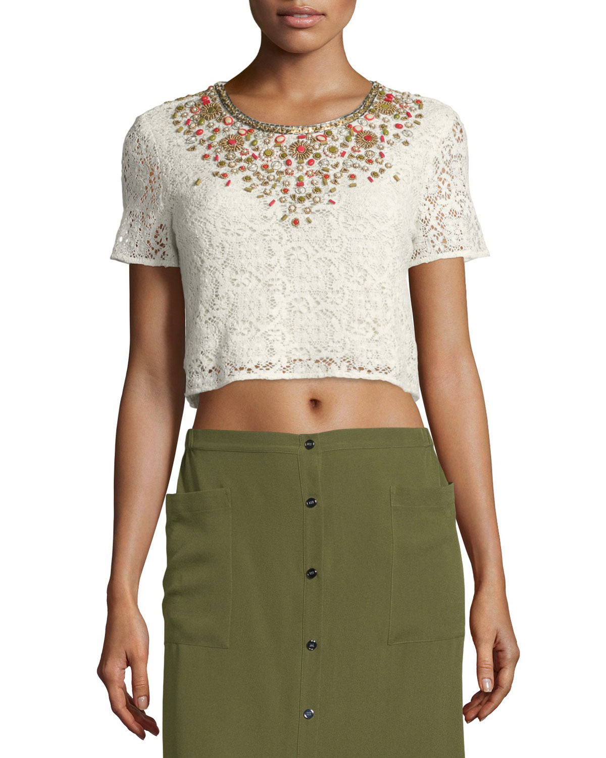 lyst haute hippie embellished lace crop top in white. Black Bedroom Furniture Sets. Home Design Ideas