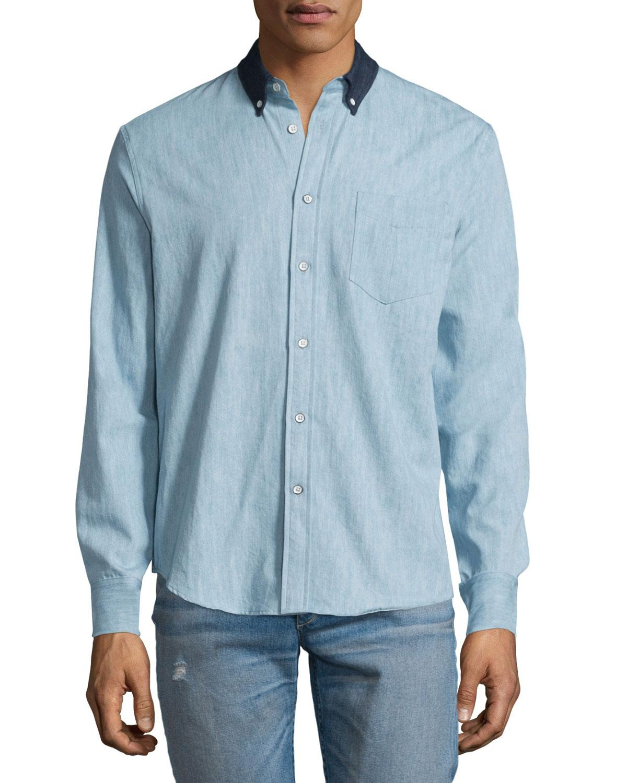 Rag bone yokohama long sleeve chambray shirt in blue for for Rag bone shirt