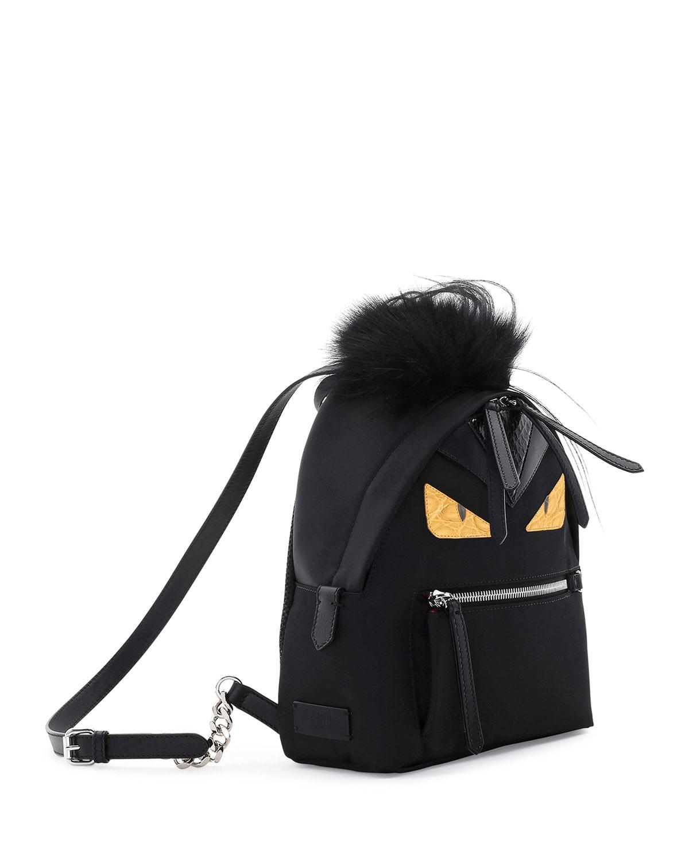 20e90ed8ddf Lyst - Fendi Large Monster Backpack With Fur in Black