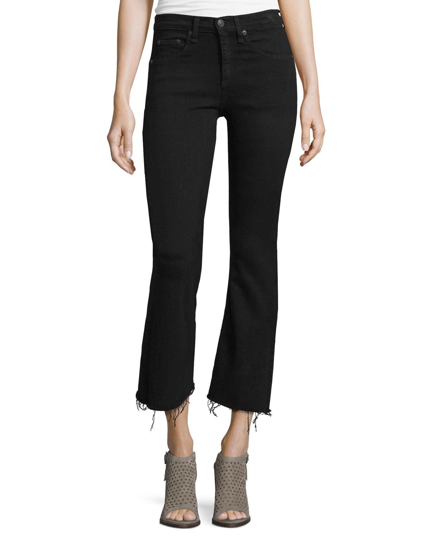 Hair accessories natural black hair - Rag Amp Bone Mid Rise Cropped Flare Leg Jeans In Black