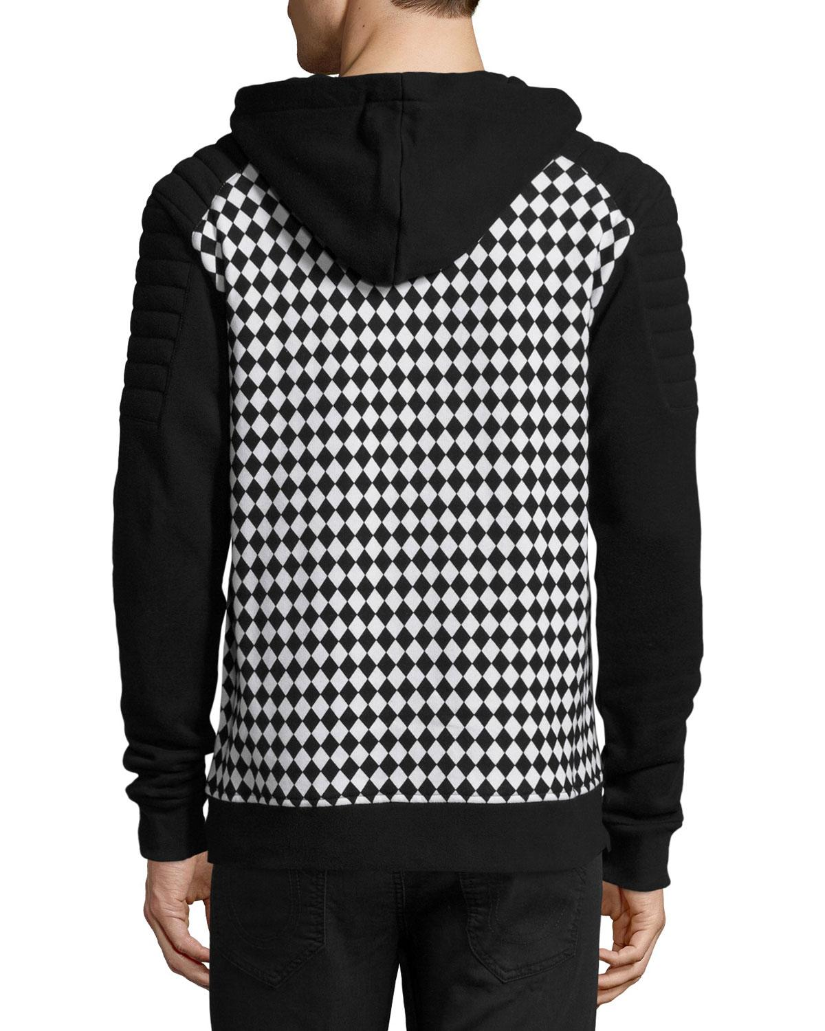 Balmain Checker Print Zip Front Sweatshirt In Black For