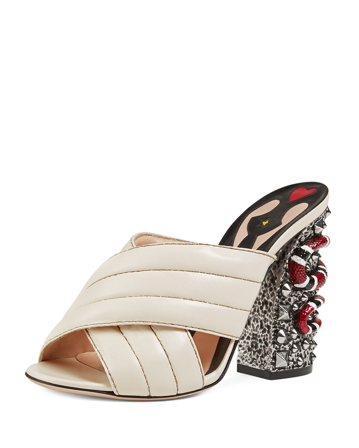 Gucci Webby Quilted Leather Snake Heel Mule Sandal In